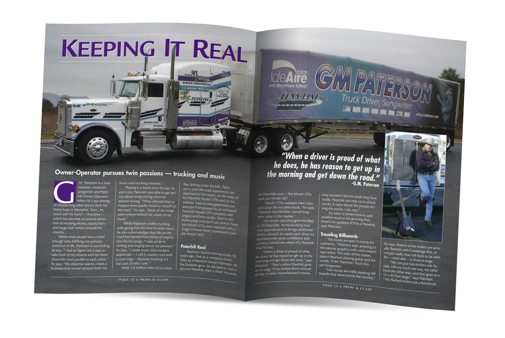 Northbrook Publishing Layout design for Peterbilt publication featured driver