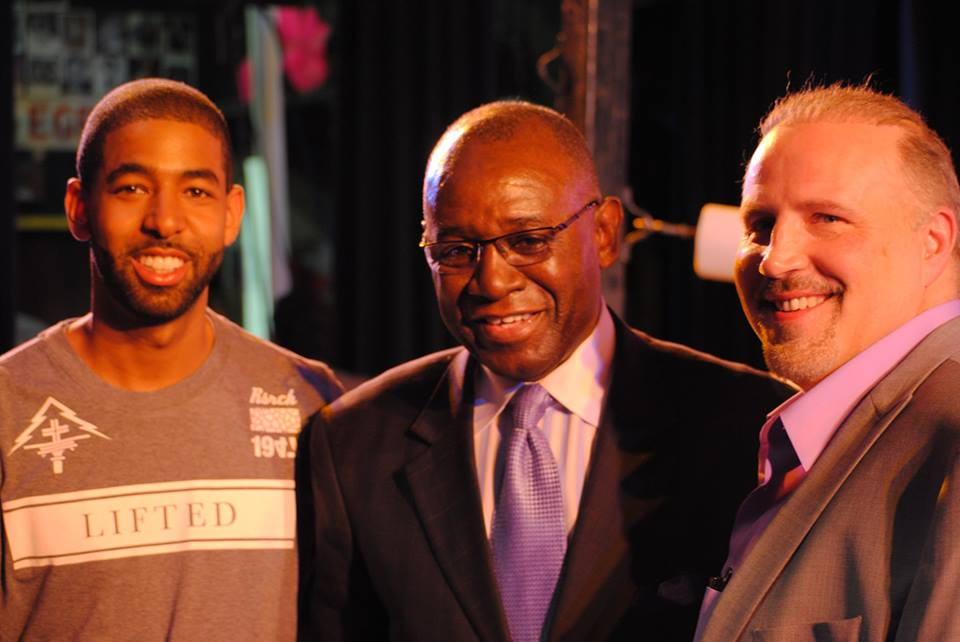 Al Haymon rep Marcus Watson, New Jersey Athletic Commissioner Larry Hazzard, and co-promoter Marshall Kauffman are ringside in Atlantic City at The Claridge, May 22, 2015.  Photo by Robert Brizel of Real Combat Media