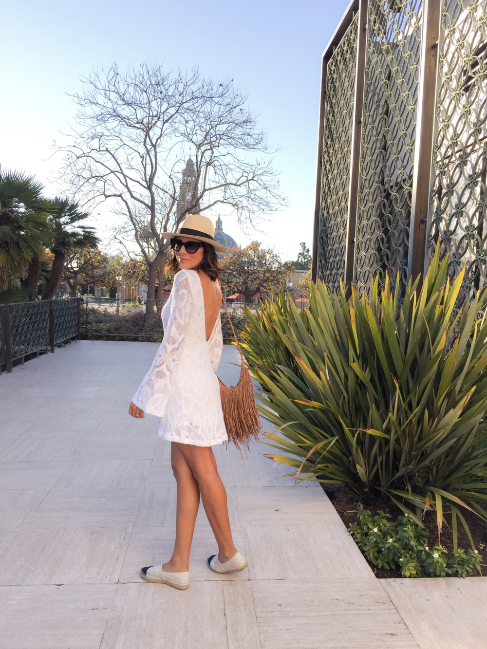 Nightcap clothing, Chanel espadrilles, fringe handbag, white dress, festival vibe,