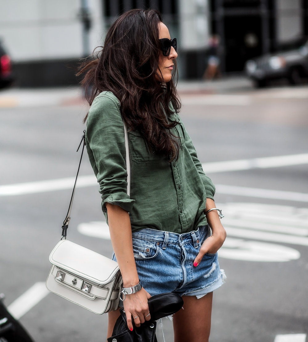 Proenza_Schouler_PS1_Levis_Cutoff_Shorts_Army_Green_M0ther_Denim_Button_Up_Shirt.jpg