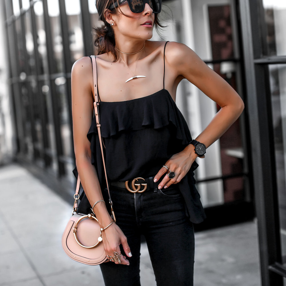 Ruffle cami and black jeans chloe nile bag gucci belt.jpg