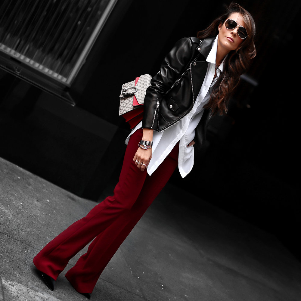Mackage Leather Jacket Gucci Bag Red Pants for NYFW.jpg