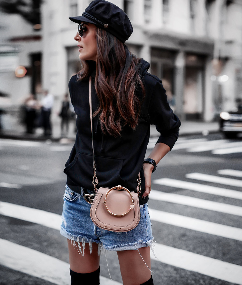Baker Boy Hat Black Hoodie Vintage Levis shorts Chloe Nile Bag Gucci Belt.jpg