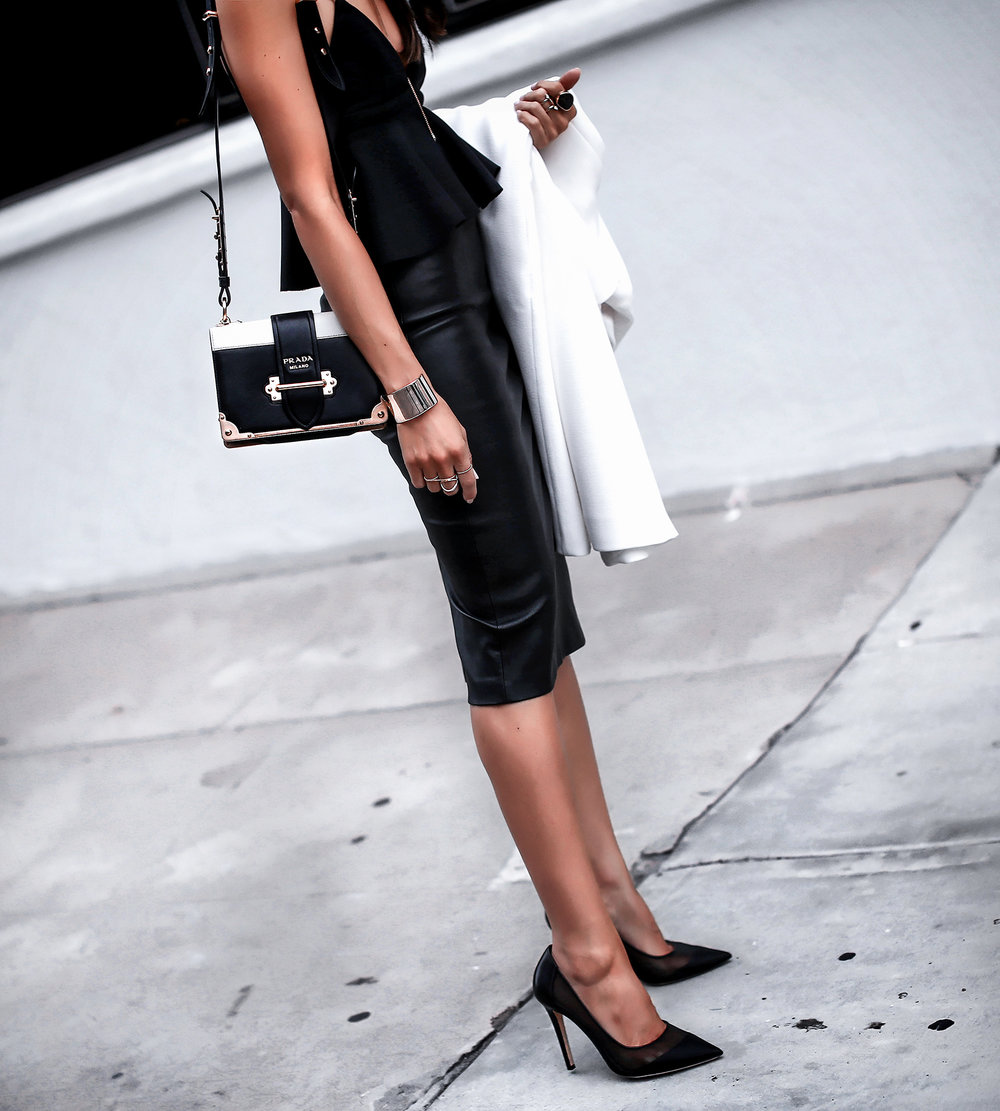 By Johnny Ruffled Crop Top Mackage Leather Pencil Skirt Prada Cahier Bag .jpg