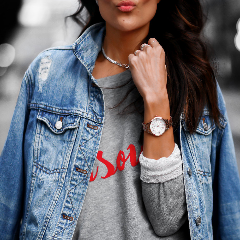 South Parade Bisous Sweatshirt Timex Watch Jean Jacket.jpg