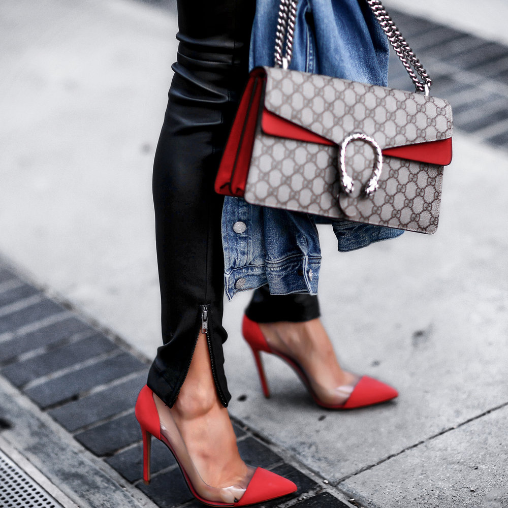 Zipper Leather Skinny Pants Gianvito Rossi Plexi Red Pumps Gucci Dionysus Bag.jpg