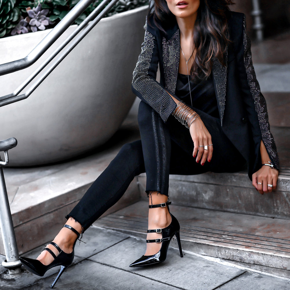 Holiday Fashion Tuxedo Mother Denim Jeans Tamara Mellon Pistols Studded Statement Blazer.jpg