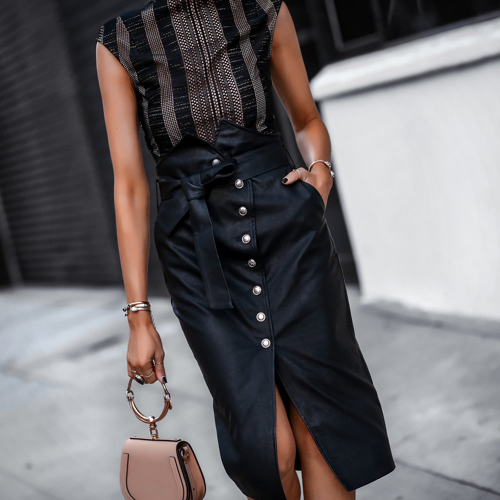 Misha Collection Bodysuit Bardot Faux Leather Wrap Skirt Chloe Nile Bag.jpg