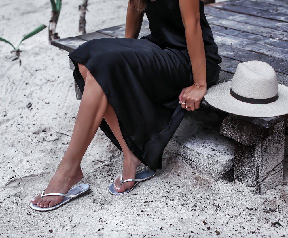 Sangria Sandals Sincerely Jules Slip Dress Janessa Leone Hat Beach Style in Tulum.jpg