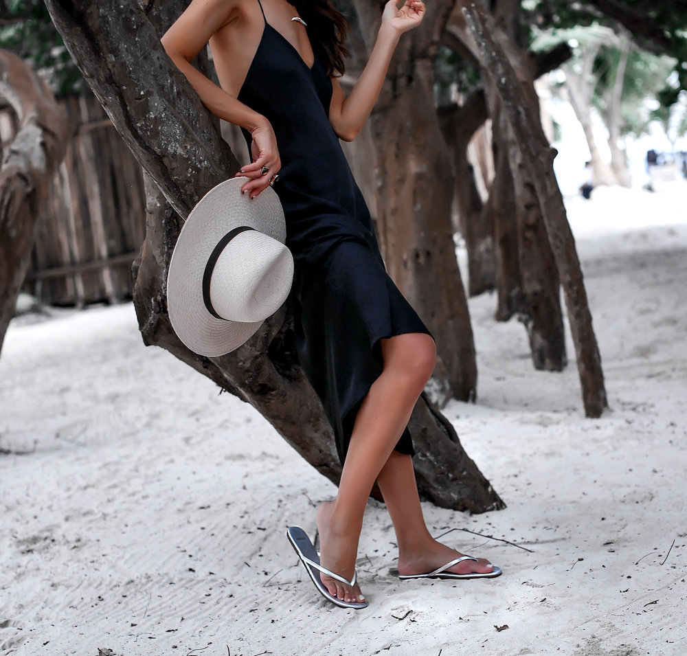 Sangria Metallic Sandals Sincerely Jules Slip Dress Janessa Leone Hat Tulum Beach Style.jpg