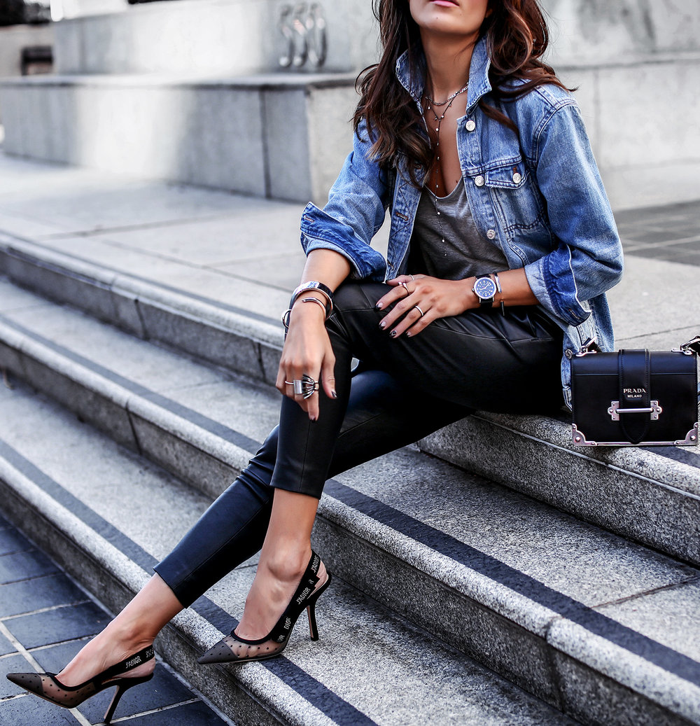 Styling Casual Everyday Basics HILO The Label Leather Pants Madewell Jean Jacket Christian Dior Slingbacks.jpg