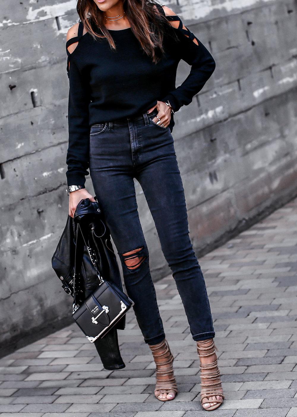 Joes Jeans Acid Wash Denim Cutout Sweater Streetstyle.jpg