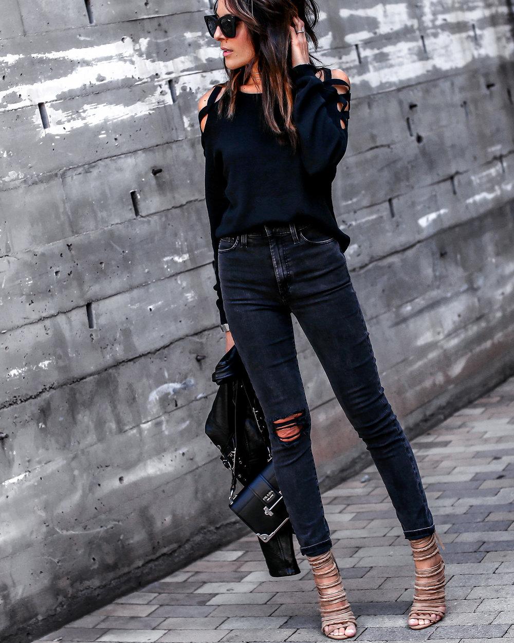Joes Jeans Acid Wash Denim Cutout Sweater Steve Madden Wrap Sandals Prada Bag.jpg