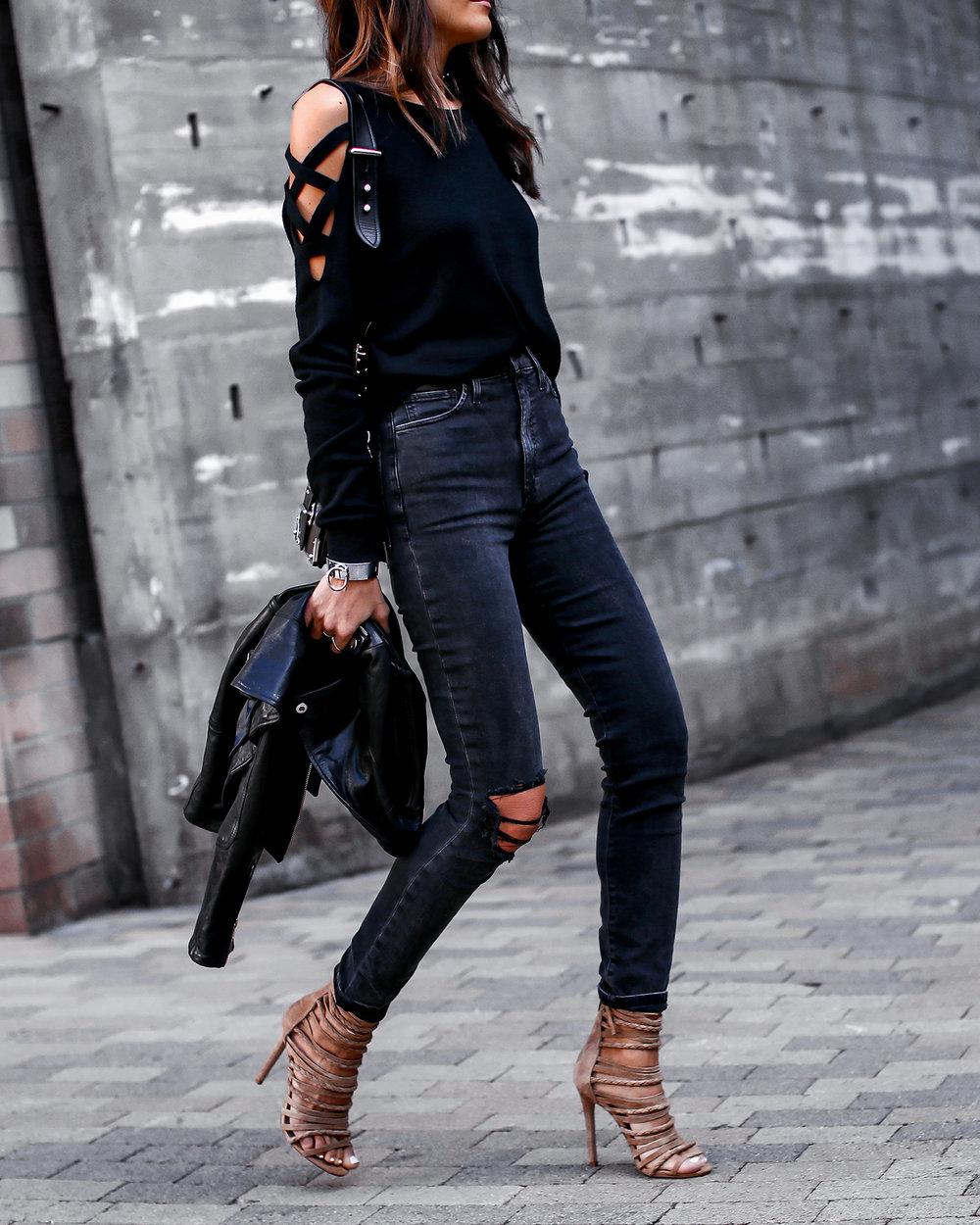 Joes Jeans Acid Wash Denim Cutout Sweater Steve Madden Wrap Sandals Prada Cahier Bag.jpg