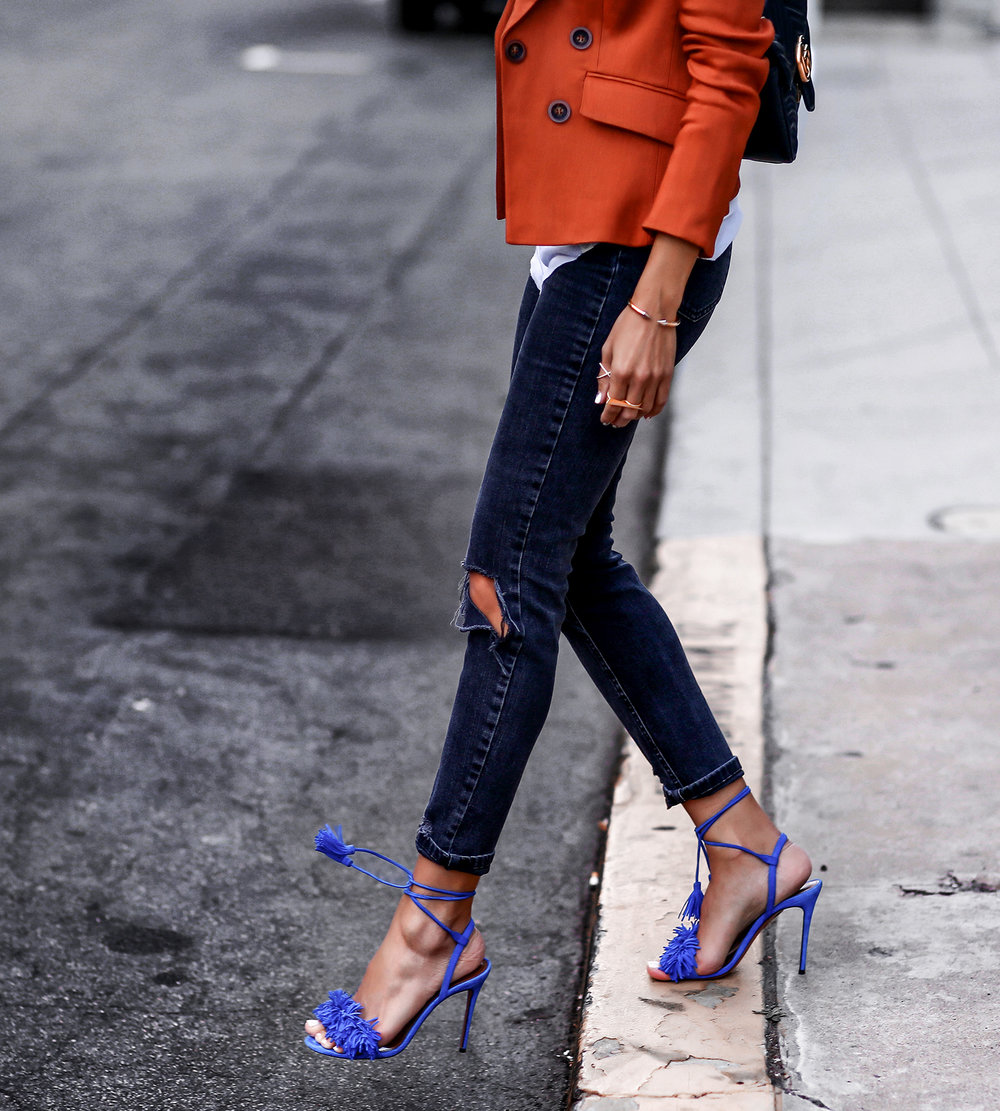 Veronica Beard Blazer Asos Jeans Aquazzura Wild Thing Sandals Latin Blogger Lucys Whims.jpg