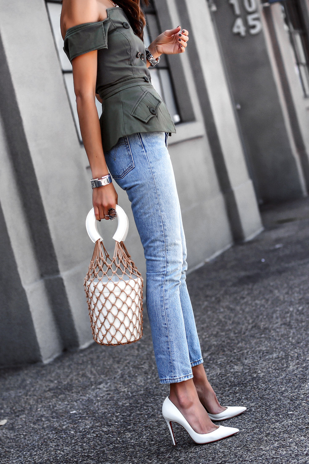 Marissa Webb Vest Levis Jeans Staud Bucket Bag White Christian Louboutin Pumps Spring Trend  Must Haves.jpg