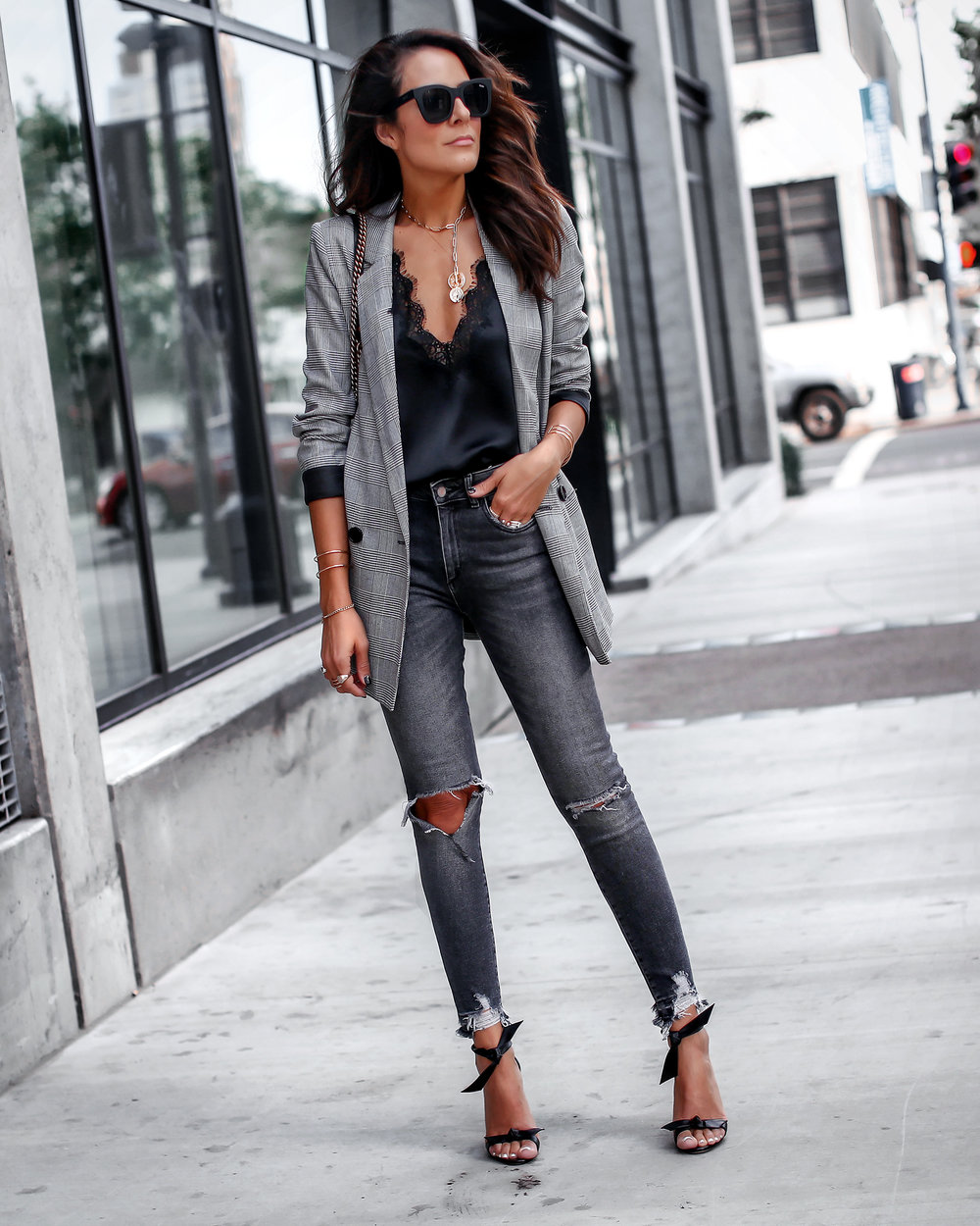 Plaid Blaze Cami NYC Ripped Denim Streetstyle Blogger Lucys Whims.jpg