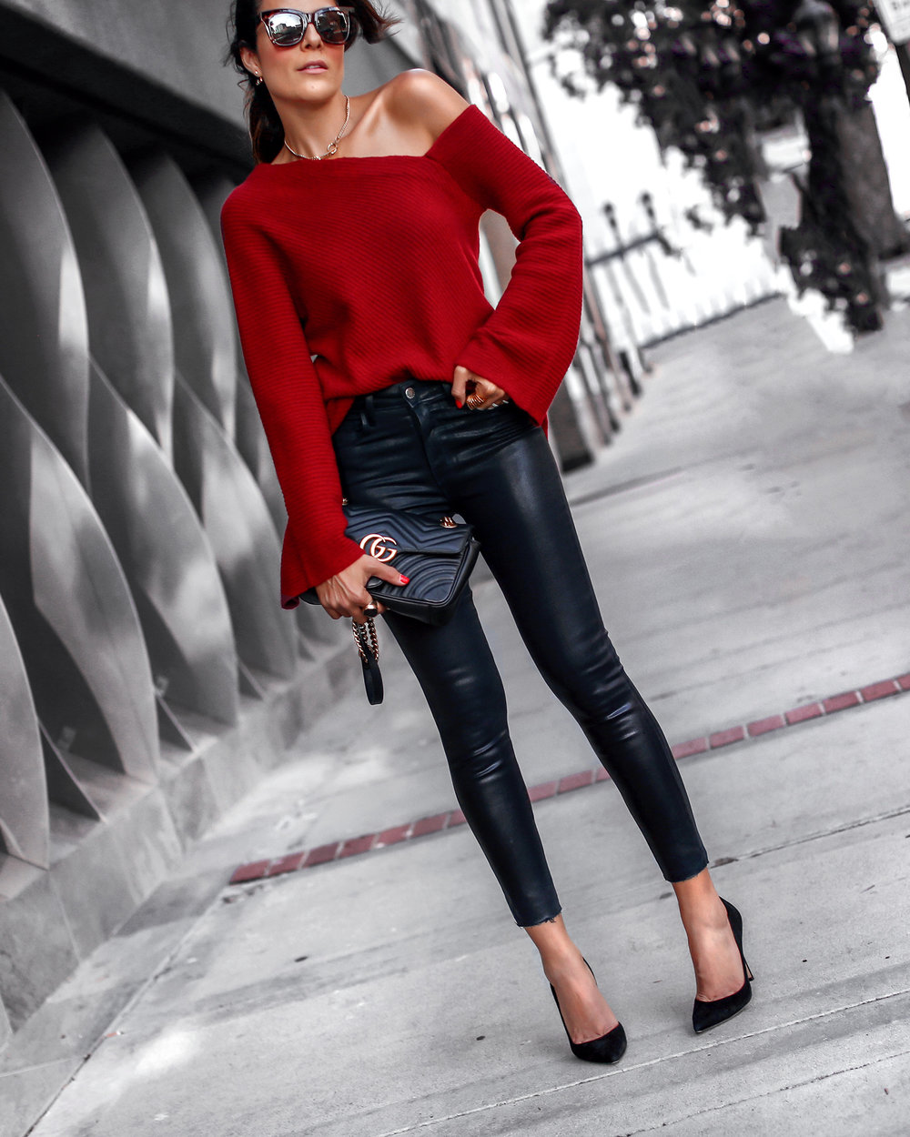 A.L.C Asymmetric Cashmere Sweater L'Agence Skinny jeans Gucci Bag Nordstrom Anniversary Sale.jpg