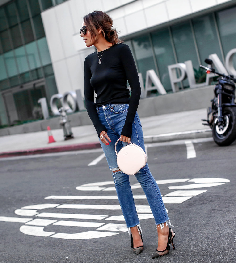 Brunette Woman Wearing Long Sleeve Henley Redone Blue Denim The Daily Edited Bag Dior Slingbacks.jpg