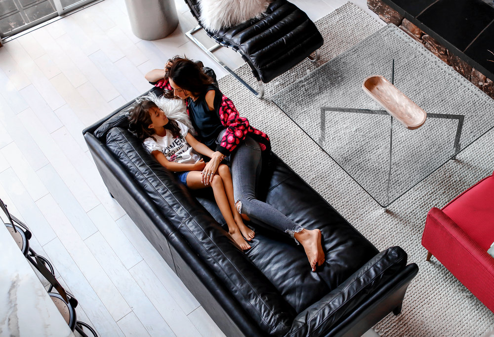 Mother and Daughter in Modern Living Room