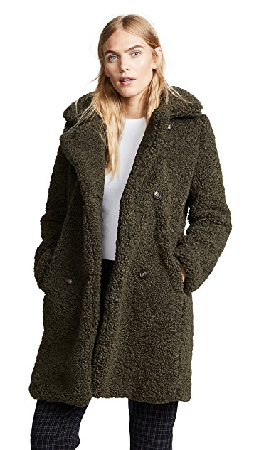 Army Green Teddy bear coat
