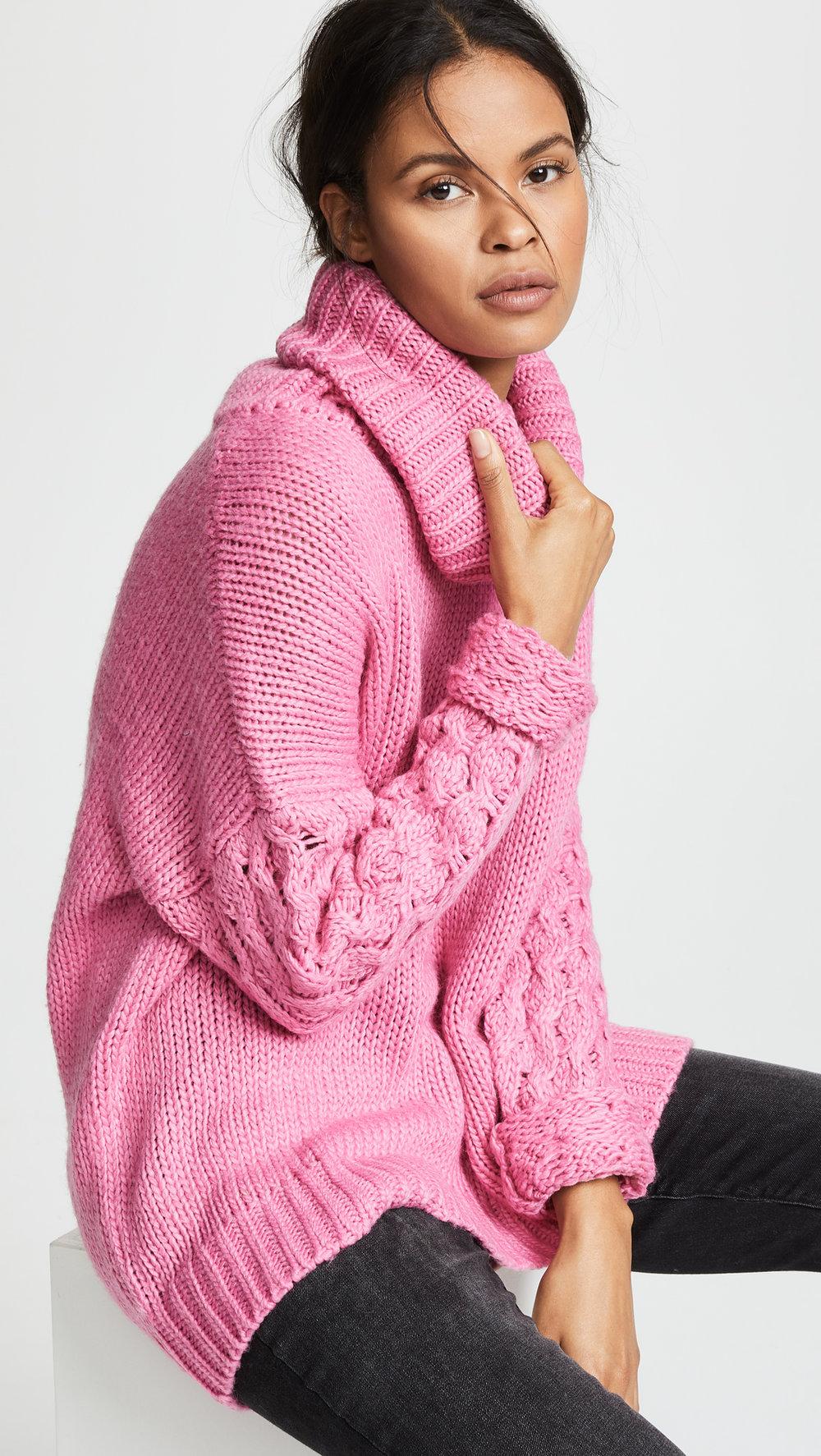 Pink Chunky Turtleneck