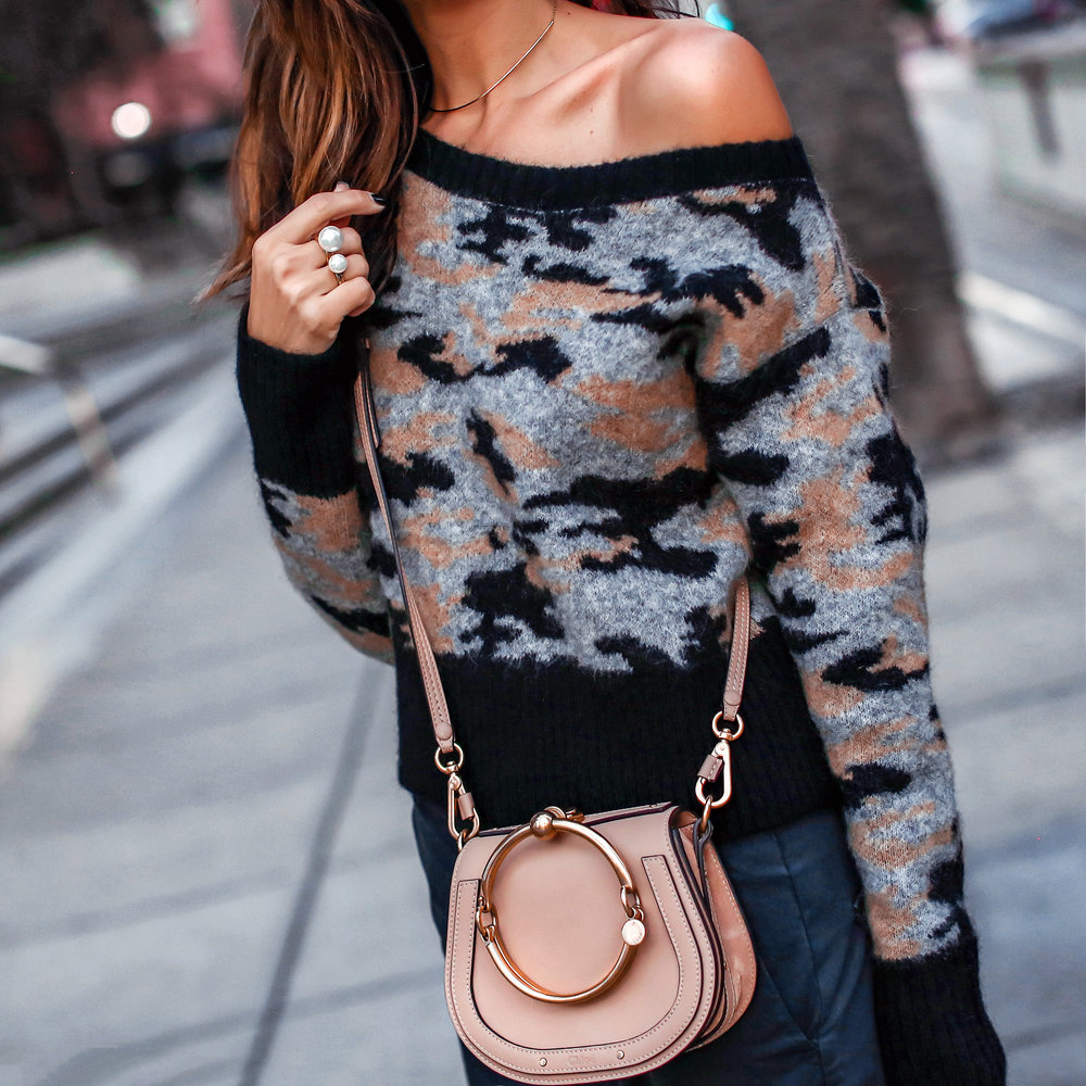 Brunette in Camo Sweater and Chloe Bag