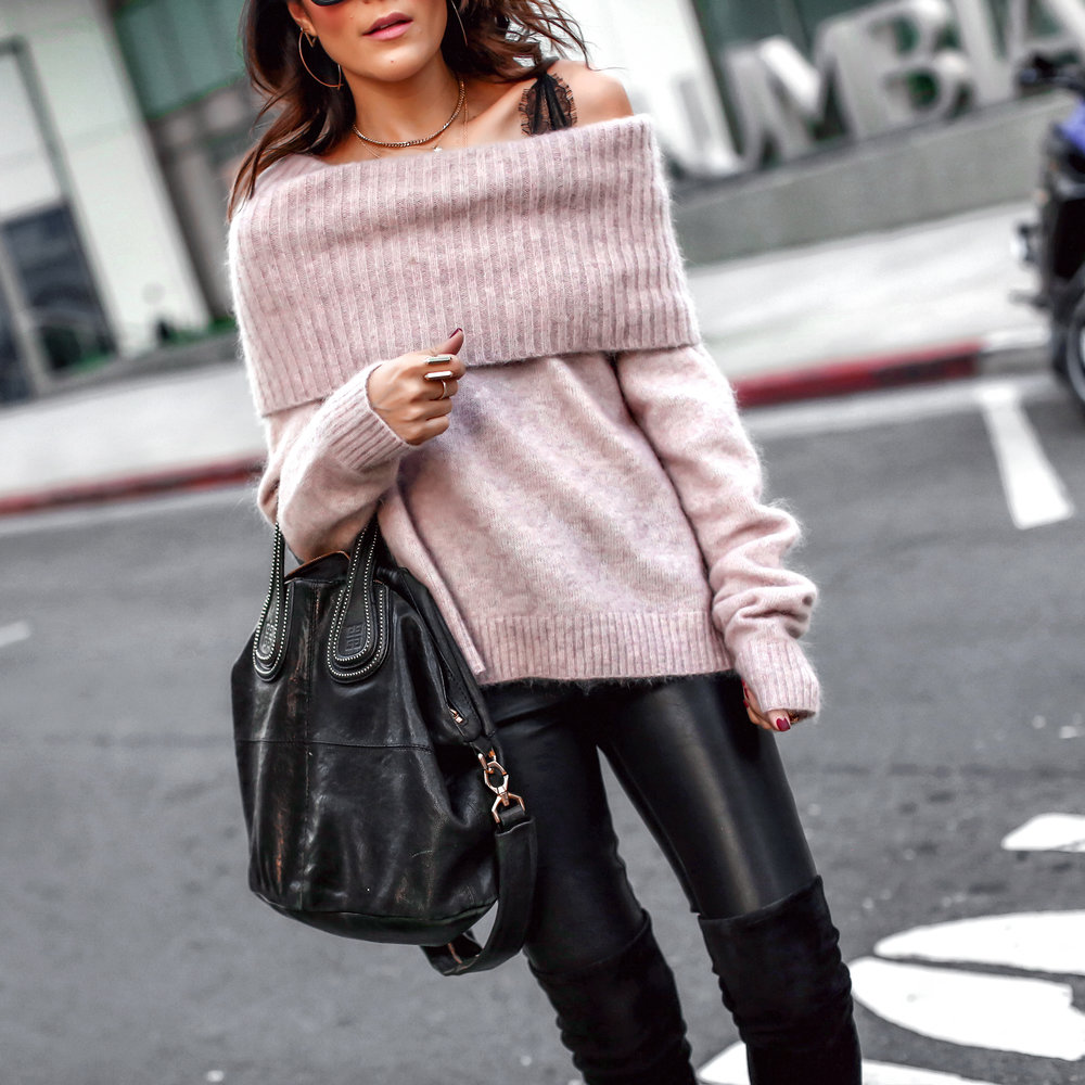 Brunette Woman in Off the Shoulder Sweater and Leather Leggings