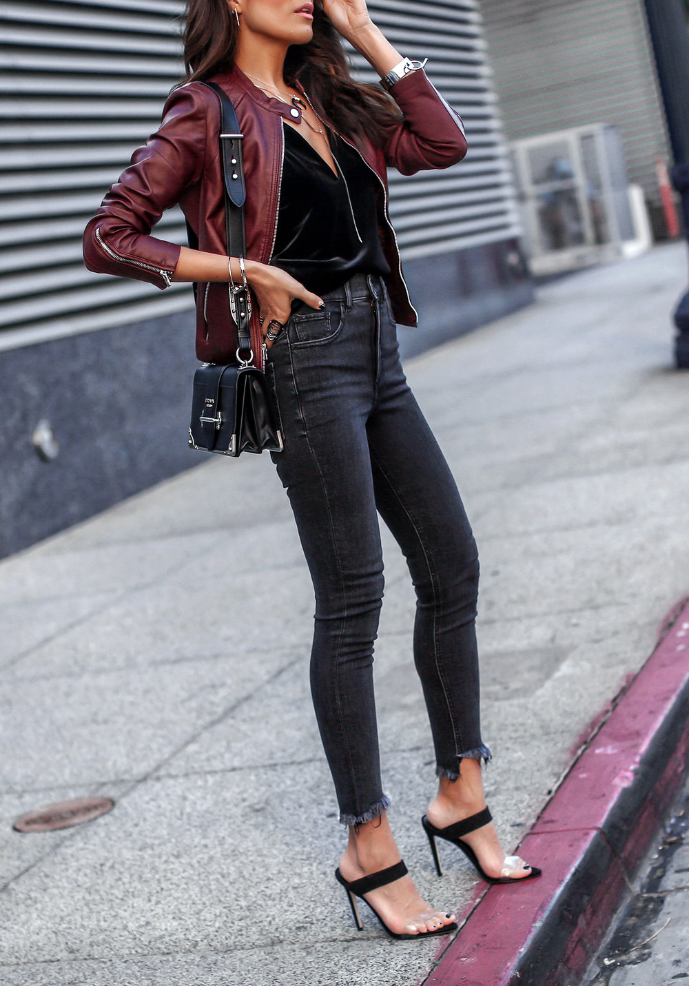 Express Ripped Denim Leather Moto Jacket Prada Cahier Steve Madden Shoes.jpg
