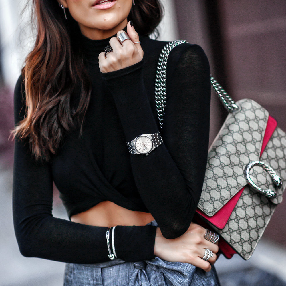 Brunette Woman in Crop Top and Gucci Dionysus Bag Vintage Rolex