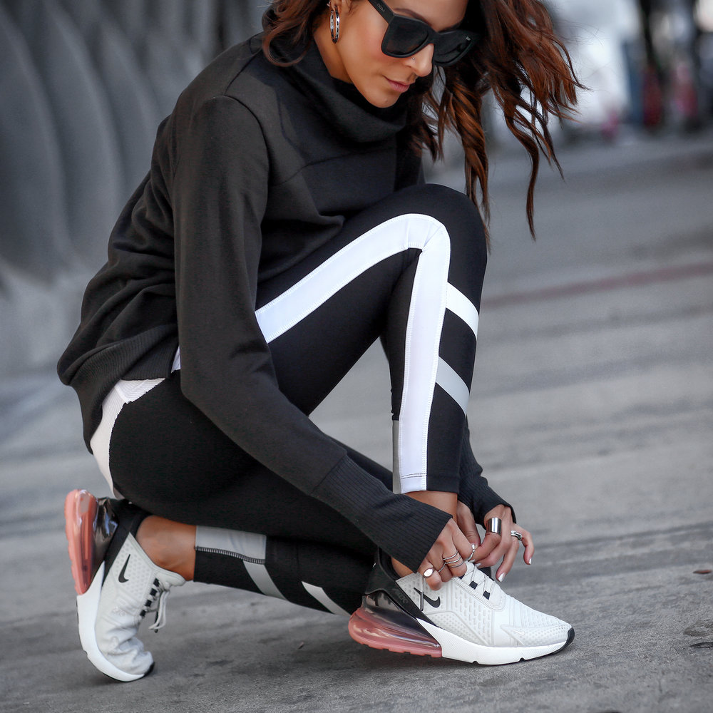 Brunette Woman in Athletic Wear Nike Sneakers