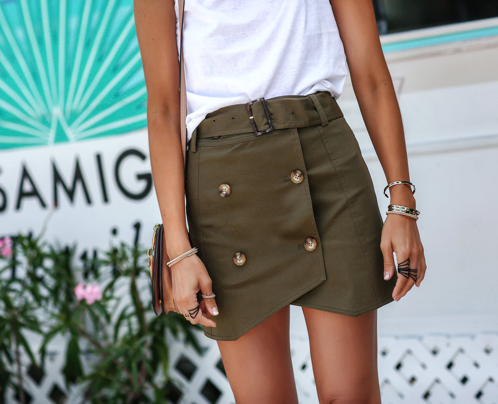 Detail Photo of Intermix Army Green Miniskirt in the Bahamas