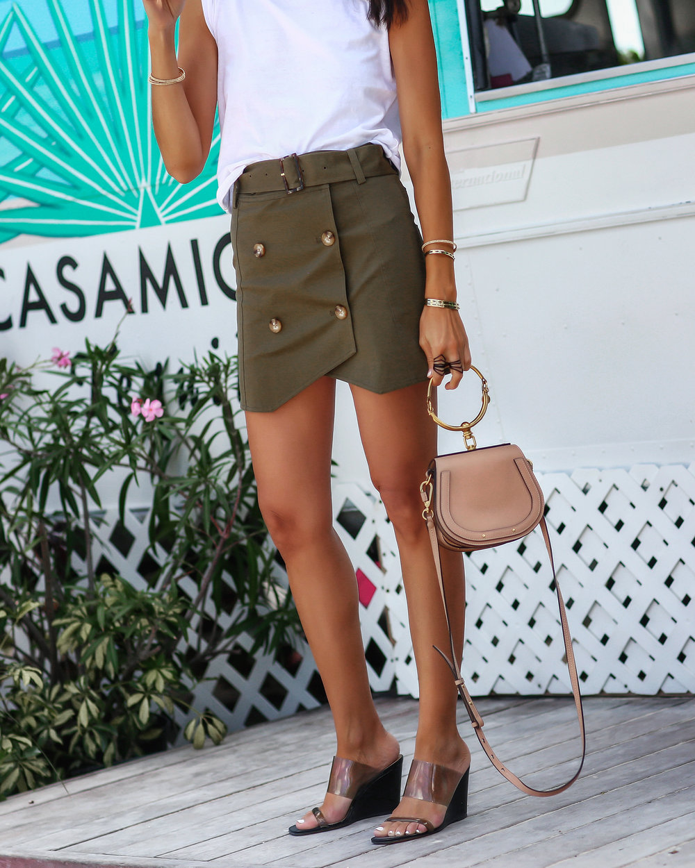 Detail Photo of Intermix Army Green Miniskirt and Maryam Nassir Zadeh Sandals