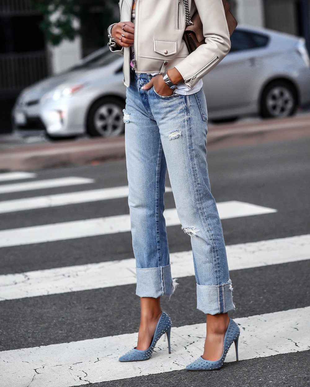 Steve Madden Denim Studded Pumps Moussy Ripped Denim