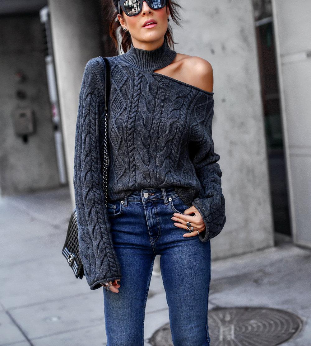 Brunette Woman in RTA Cutout Sweater