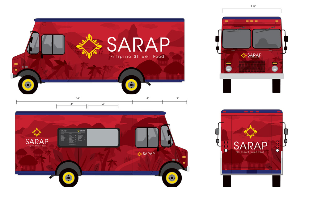 Sarap branding packaging illustration kia delgado for Food truck design software