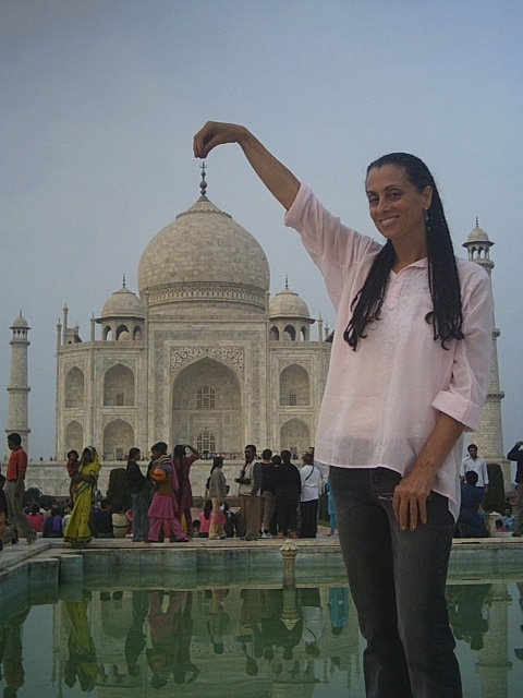 Pamela's 3rd Trip to India, at the Taj Mahal, Agra, India, December, 2006