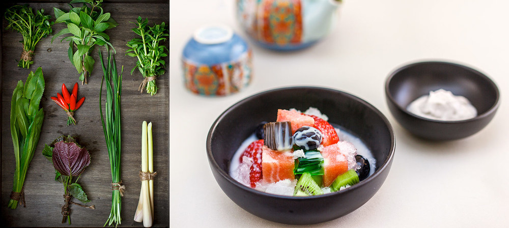 Left:  Fresh herbs are a common feature of Vietnamese cuisine  Right:  Coconut, shaved ice, jellies and nuts are common within Vietnamese desserts which are often full of colour.