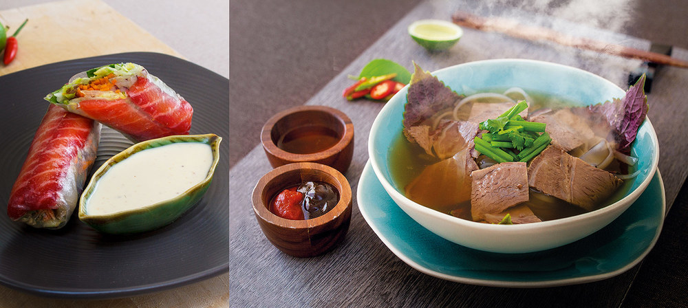 Left:  Goi are soft rice paper rolls with a variety of fresh herbs and meats.  Right:  Pho is an aromatic soup and meat dish. Both dishes are served with dipping sauces.