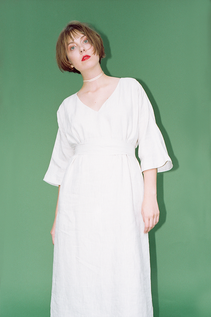 the kimono dress, in textured Italian linen