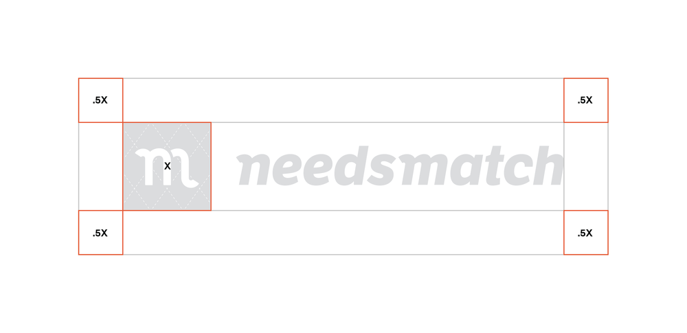 Clear Space   The Needsmatch logo should always be surrounded by a minimum area of clear space. No other visual elements may enter the clear space. Care should be taken whenever laying the logo over a colour, background or image.