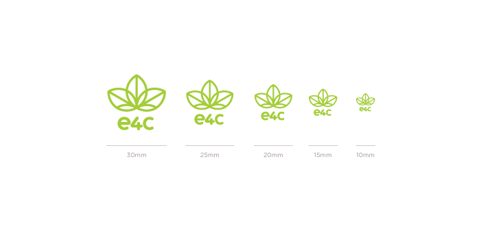 Minimum Size:    As illustrated, the primary logo is to be no smaller than 30 pixels, or 10mm. Where a smaller rendering is needed, the secondary logo maintains greater legibility at smaller sizes, though the 'e4c' acronym should remain legible in all instances.