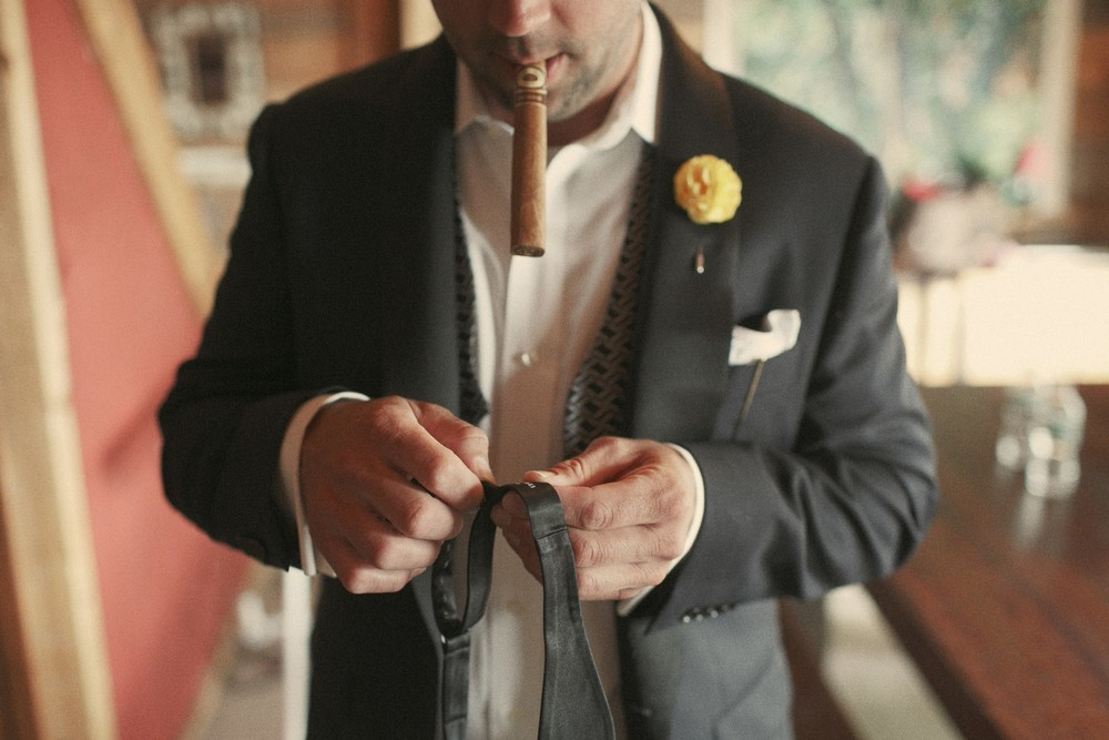 Groom's final prep