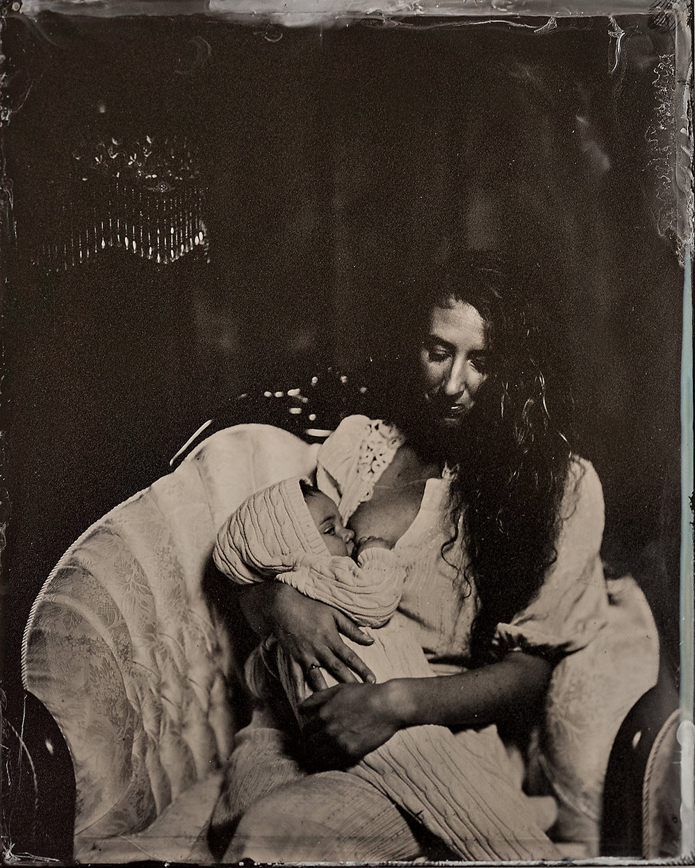 maternal mother nursing baby family tintype group portrait rochester ny wet plate.jpg