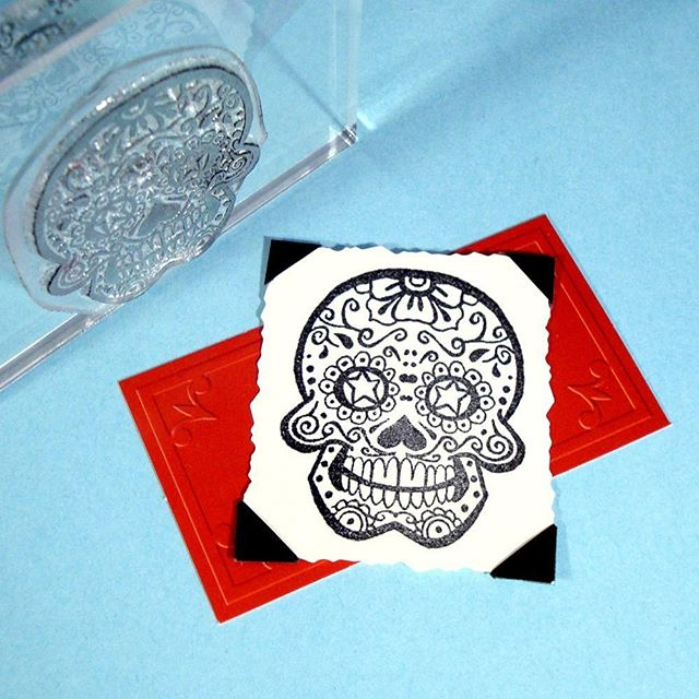 A sugar skull just waiting for some bright colors!  #diadelosmuertos . . . . . #sugarskull #sugarskullart #sugarskullstamp #diadelosmuertosart #dayofthedead #clearstamps #handmadestamp #skullstamp