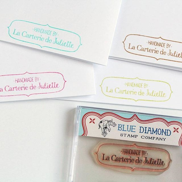 "Lovely image/comment from talented card-maker @juliette_ostro: ""My custom stamp made by @bluediamondstamps is sooo useful! 😊 I use it to stamp the name of my shop at the back of all my handmade greeting cards! 💌"" Thanks Juliette-- looks great! . . . . . #customstamp #logostamp #cardmaking #clearstamps  #rubberstamp #etsystore #stationerylove #branding #stamping #handmadecards"
