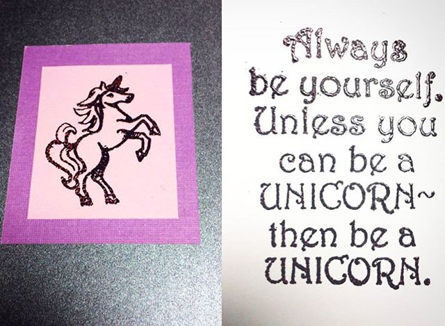"""Always be yourself. Unless you can be a unicorn~ then be a unicorn!"" Check out this skillfully embossed greeting card by @kristenstudebaker using the Blue Diamond unicorn stamp. Nice job! 👍 . . . . .  #unicornstamp #unicorn #StudieStationery #bluediamondstampco #greetingcards #handmade #stampembossing #embossing #rubberstamp #clearstamps #etsyseller"
