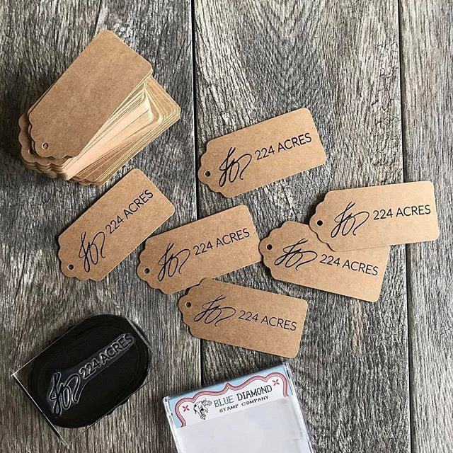Check out these perfectly crisp handstamped tags by Jenn of @224acres using her new custom stamp.  They turned out great! 😍