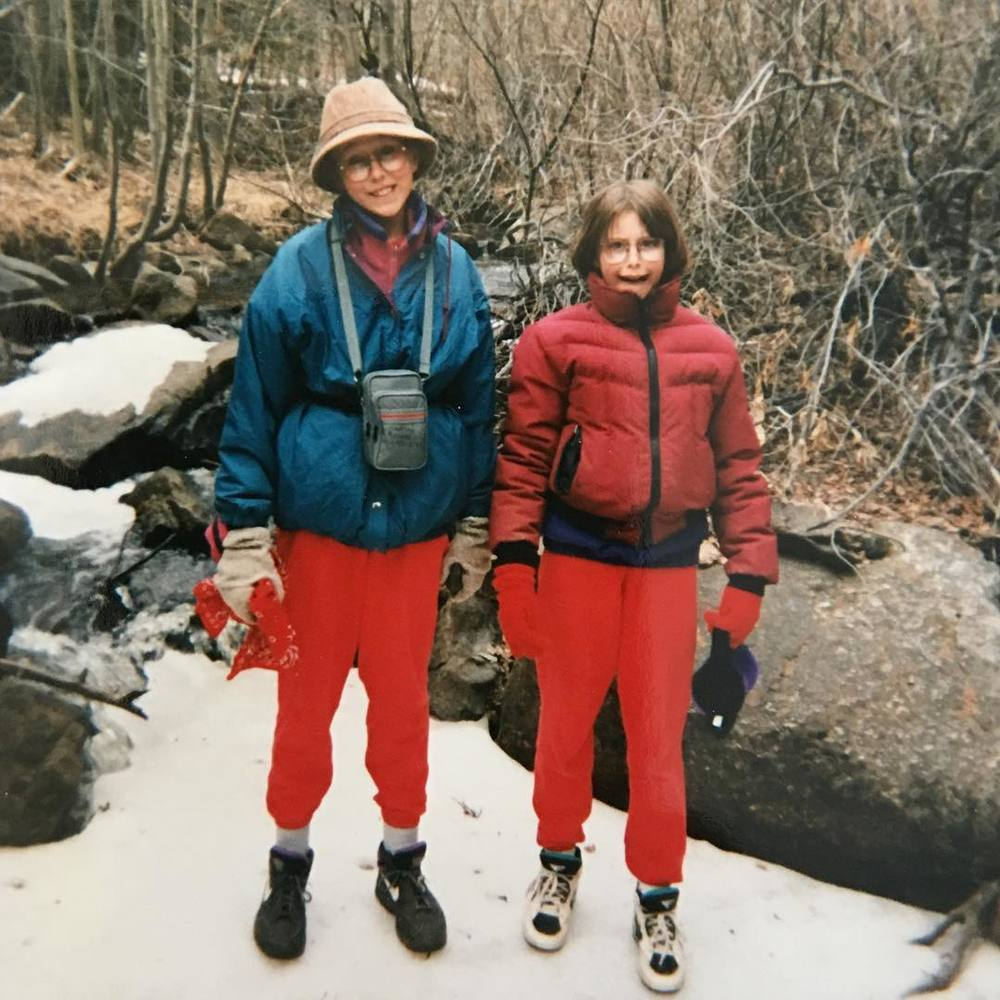 Lindsay (left) with her sister in the mid-90's on a hike in Colorado rocking every fashion no-no possible (including a fanny pack!).