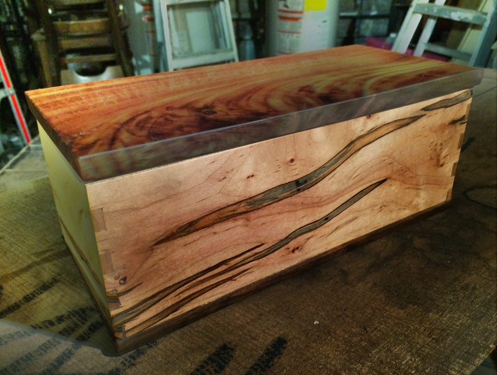 Spalted Maple and Figured Walnut Jewelry Box with 2 Trays Brooklyn